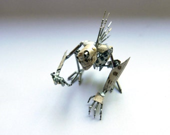 "Mechanical Creature ""Cogger"" Recycled Watch Parts Organism Justin Gershenson-Gates Faces Stems Gears Arthropod Clockwork Robot Insect"