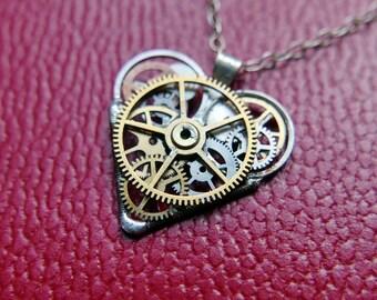 """Steampunk Heart Necklace """"Makepiece"""" Clockwork Watch Gear Industrial Heart Pendant Sculpture Gershenson-Gates Mechanical Mind Gift Idea"""
