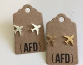 Airplane post earrings | travel| vacation souvenir | headed in the right direction | gold and silver plated jewelry