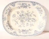 "Blue  White platter transferware Blue Willow 14.5"" 19th c asiatic chinoiserie antique blue & white Asiatic Pheasants platter serving plate"