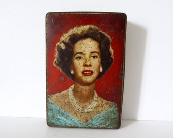 French Vintage metal box tin Advertising Tin Industrial Home storage with women portrait