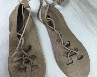 Vintage Taupe Leather Ballet Shoes -Soft Leather Capezio 5M For Decor, Shadow Box, Photography Prop - Dance Studio Decor - Shabby Condition