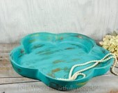 Shabby chic Wood bowl, wood tray distressed turquoise, cottage style