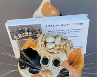 Calico cat business card holder, Clay kitty, hand made, hand sculpted, unique cat, by Pencepets, Pence animal sculptures