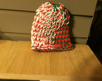 Christmas colored hand knitted xmas childs hat