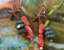 Turquoise and coral copper starfish earrings,  beachy jewelry, starfish earrings, turquoise earrings, coral earrings