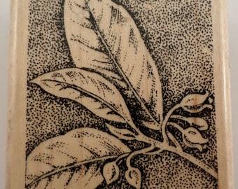 Stampin Up 2002 Garden Botanical Stipple Leaf Sketch Wooden Rubber Stamp