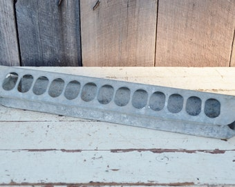 Vintage Galvanized Chicken Feeder Poultry Slide On Top with Holes Rustic Primitive Farmhouse Decor Garden Planter