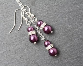 Plum jewelry set, plum earrings and necklace set, Plum wedding jewelry, Plum bridesmaid jewelry set, deep pruple wedding jewelry set