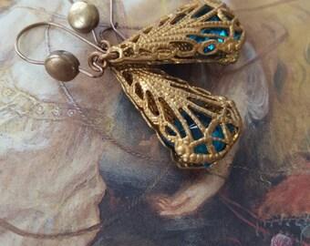 Vintage Art Deco Aqua Glass Handset Filigree UPCYCLED Earrings