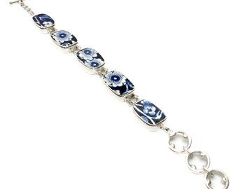 Broken China Jewelry Burleigh Blue Calico C Sterling Silver Bracelet