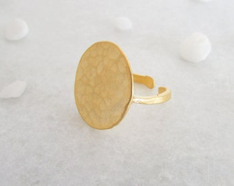 Gold Disc Ring - Statement Ring, Textured Ring, Adjustable Ring, Trending Now, Boho Chic, Boho Jewellery, Bohemian Ring, Boho Ring, 22k gold
