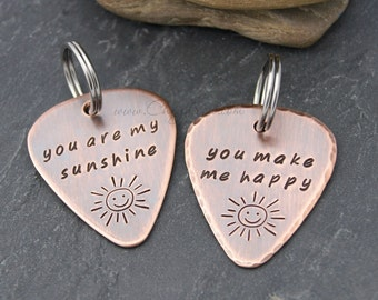 YOU ARE My SUNSHINE, Guitar Pick Gift for Friend, Guitar Pick Keychain, Couples Keychain Set, Gift for Newlyweds, Husband or Wife Birthday