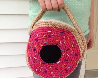 Sprinkled Donut Crocheted Purse / Pink Donut