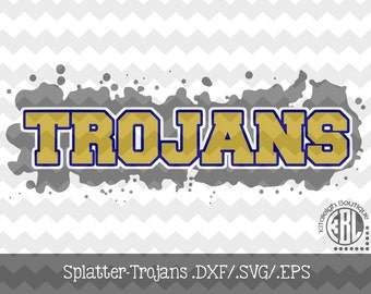Splatter Trojans Files INSTANT DOWNLOAD in dxf/svg/eps for use with programs such as Silhouette Studio and Cricut Design Space