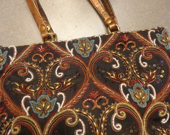 Vintage India Multicolor Beaded Handbag w/ Leather Handles and Silk Shoulder Cord