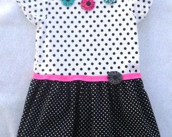 Toddler Tee Shirt Dress / Black and White Polka Dot