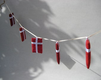 Danish Flag Hanging Garland