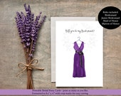 Will You Be My Maid of Honor Printable, Wedding Card, Purple dress, Bridesmaid Proposal, DIY Wedding, Digital Download, Instant Download