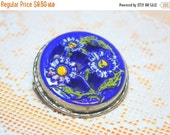 MOVING SALE Half Off Vintage Royal Blue Czech Glass Painted Daisy Floral Brooch