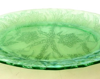 Vintage Depression Green Glass Oval Small Platter 1940s
