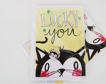 Lucky You - Black Cat Greetings Card