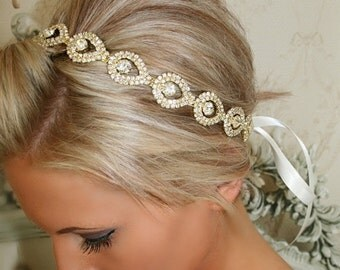 ON SALE Gold Bridal Headband, Bridal Head Piece, GOLD Elsie, Rhinestone Headband, Wedding Headband, Bridal Hair Piece, Bridal Headpiece, Rhi