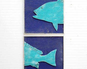 Big FISH Art 2 pc Set Wooden Fish Wall Decor Framed Fish Beach House Decor Fishing Large Wall Art