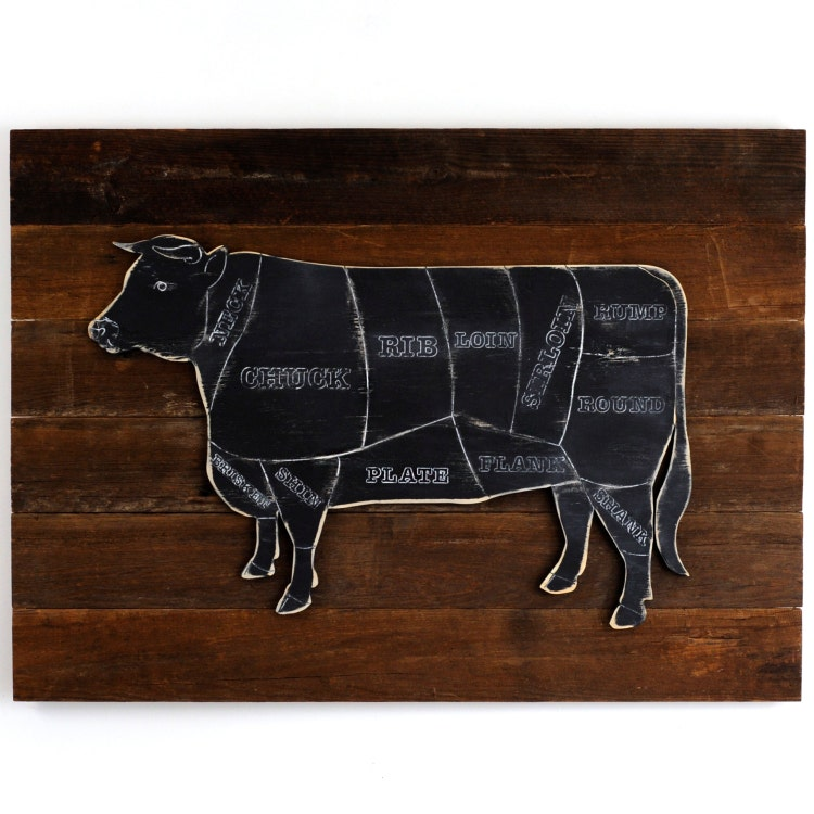 Rustic Cow Butcher Shop Sign Beef Meat Chart By Havenamerica