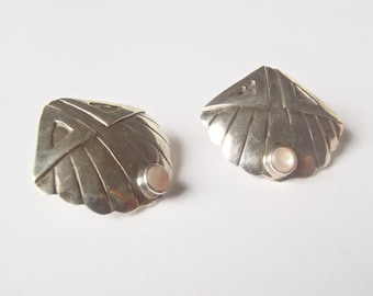 Sterling Silver Earrings Sea Shell Theme with Triangles + Small Bezel Set Iridescent Mother of Pearl Accents Vintage Handmade & Very Unique