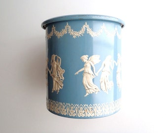 Vintage Wedgwood Blue Tin Dancing Goddess and Wreath Motif Made in Holland Embossed Cylindrical Canister with Friction Lid Cottage Chic