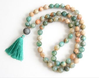 Agate Hand Knotted Necklace Boho Necklace Long Beaded Necklace Knotted Mala Silk Tassel Necklace CZ Pave Bohemian Jewelry Gift for Her
