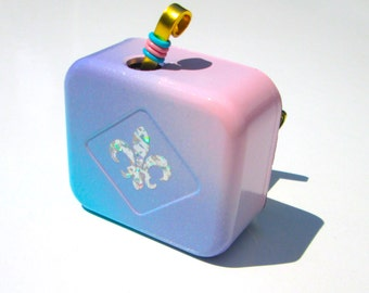 "Great Selection of Music Box Songs - Pink Lilac and Teal -  Sankyo Movements with Holographic Fleur De Lis- Songs  ""A"" through ""F"" - Gift"