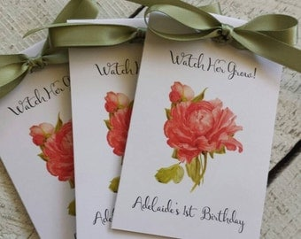 Vintage Salmon Pink Peony Design Wedding Favors w/ Wildflowers Seed Packets Personalized Bridal Shower Favors Engagement Party ~  Reception