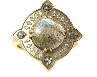 Gold Compass Ring with Labradorite and Salt and Pepper Diamonds with Diamond Pave Halo