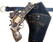 Steampunk cyber gothic toy gun-holster-belt pistol  gun laser LIGHT Victorian cosplay prop theatre Gold tone Wholesale price