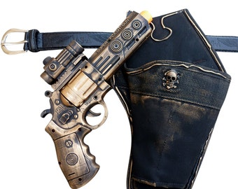 Steampunk cyber gothic toy gun-holster-belt pistol  gun laser LIGHT Victorian cosplay prop theatre Gold tone Wholesale price