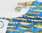 Fish Adult Apron - bright blue