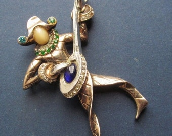 Summer Sale Urie Mandle Sterling Harlequin Musical Pin Antique Troubadour Brooch Circa 1946