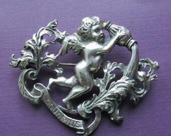 On Sale Vintage Aquarius Brooch Cini Zodiac Sterling Silver Pin Jewelry