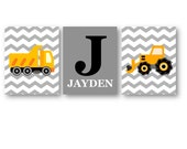 Personalized Name Art for Boys // Construction Nursery Decor // Construction Wall Art // Construction Trucks Art Prints // Three PRINTS ONLY