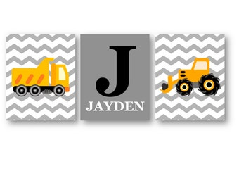 Personalized Name Art for Boys - Construction Nursery Decor - Construction Wall Art - Construction Trucks Art Prints - Three PRINTS ONLY