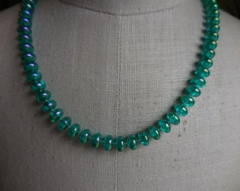 Vintage 1950s to 1960s Green Plastic Iridescent Necklace Short Gold Tone Plastic Lightweight