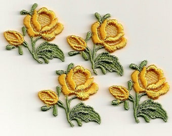 Yellow Roses: Vintage Sew-On Embroidered Appliques - Set of 4 New Old Stock Appliques