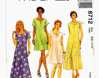 McCall's 8712 Loose Fitting Dress Two Lengths Short Sleeves Sizes 4, 6, 8 Uncut Pattern FF