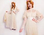 Vintage 1970s GUNNE SAX Dress - Lace Gauze Ivory Maxi Gown Renaissance 70s - Medium