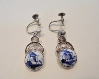 Vintage Sterling Silver DELFT Earrings 835 Screwback Hand Painted Blue Windmill Retro Art Deco