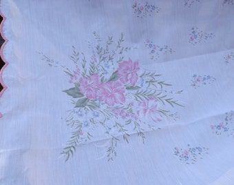 """Sale Deluxe huge NEW cotton bland tablecloth 100"""" White with large,small pink blue flowers.RARE.Privet collection. Festive celebratory Gift"""