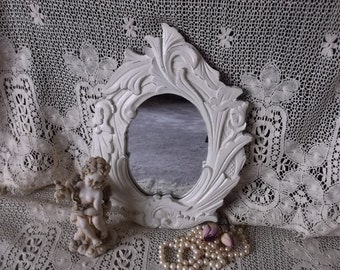 Shabby French Country mirror, small mirror, creamy white, carved look, ornate oval
