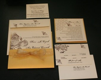 """Wedding Invitation Suite, Golden Honey, """"Two Sweet Bees"""", Vintage, Bees, Square, Shabby Chic, Pocket, Unique, Christian, French, Rustic"""